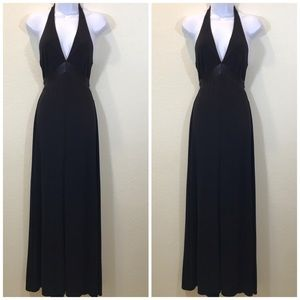 BCBG LONG BLACK HALTER DRESS SIZE SMALL